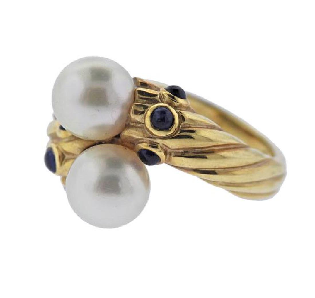 14K Gold Pearl Sapphire Bypass Ring - 2