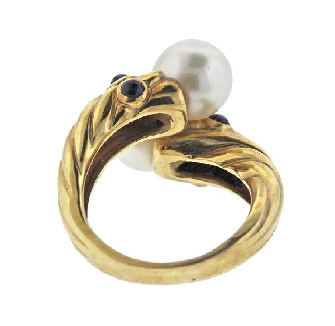 14K Gold Pearl Sapphire Bypass Ring - 3