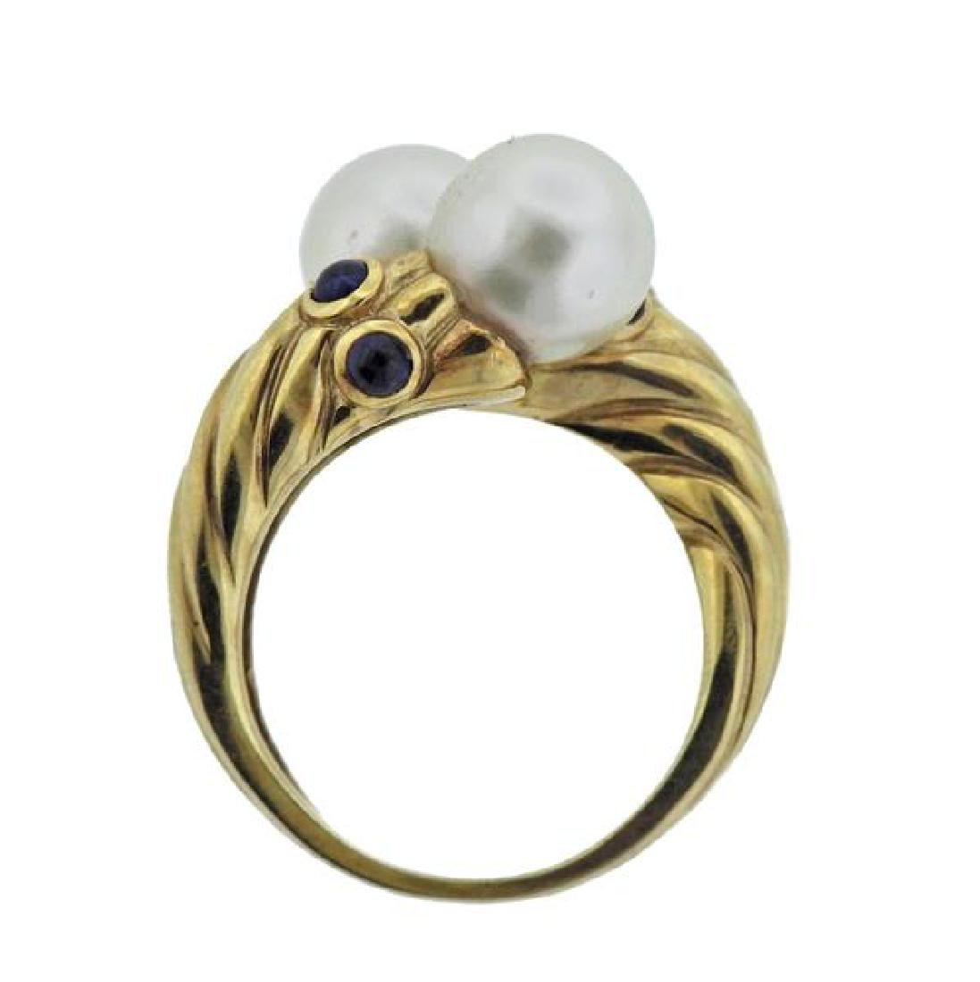 14K Gold Pearl Sapphire Bypass Ring - 4