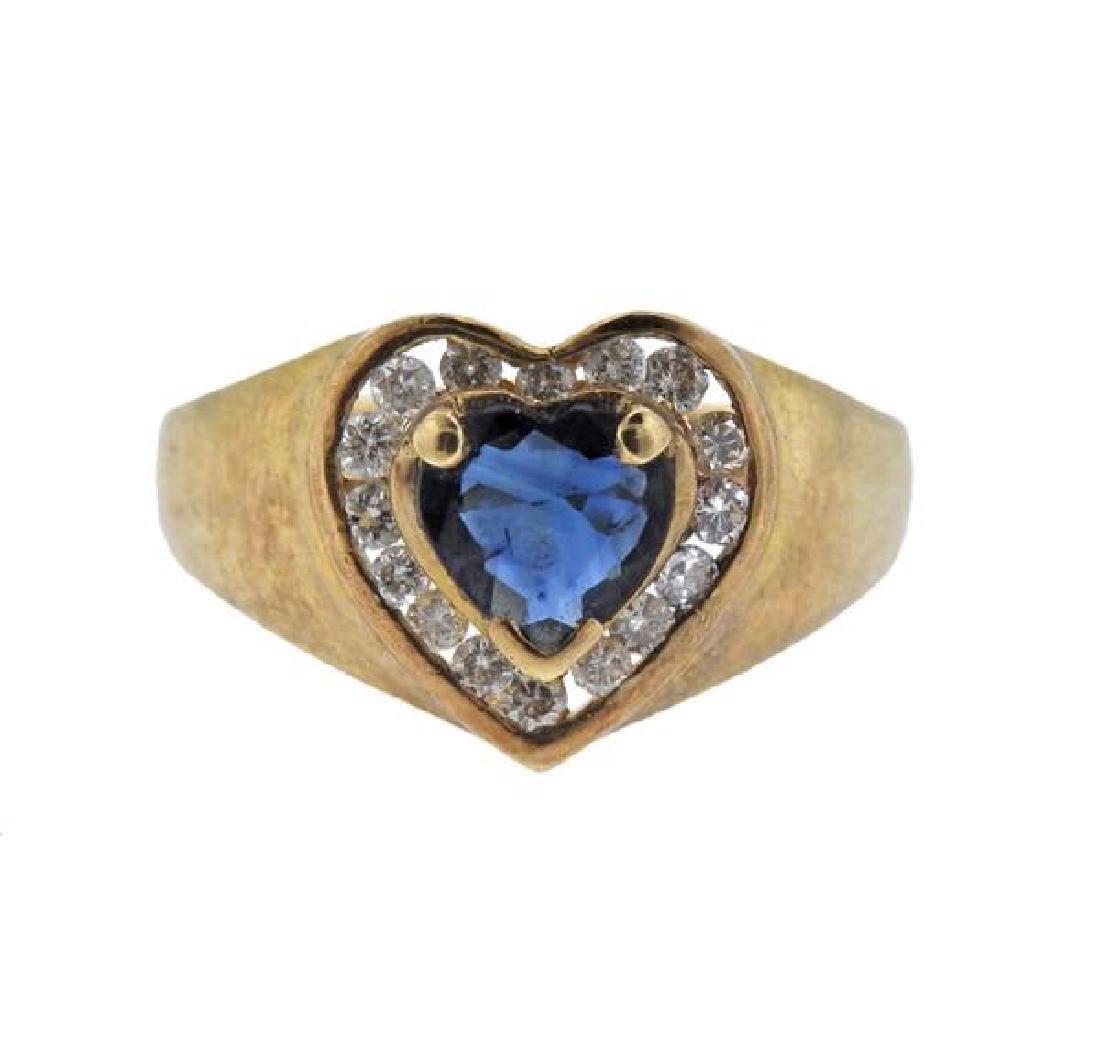 14K Gold Diamond Sapphire Heart Ring