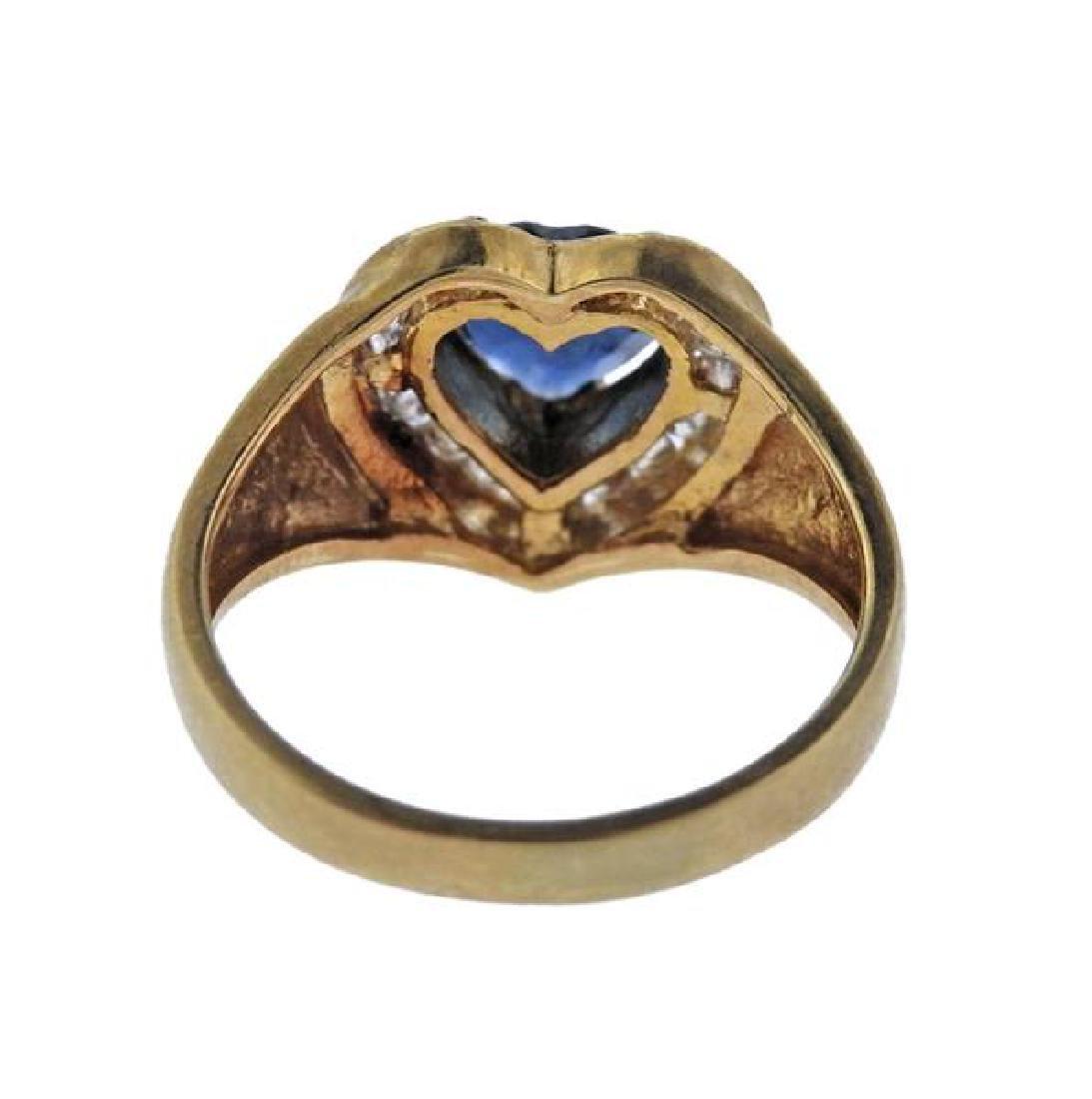 14K Gold Diamond Sapphire Heart Ring - 3