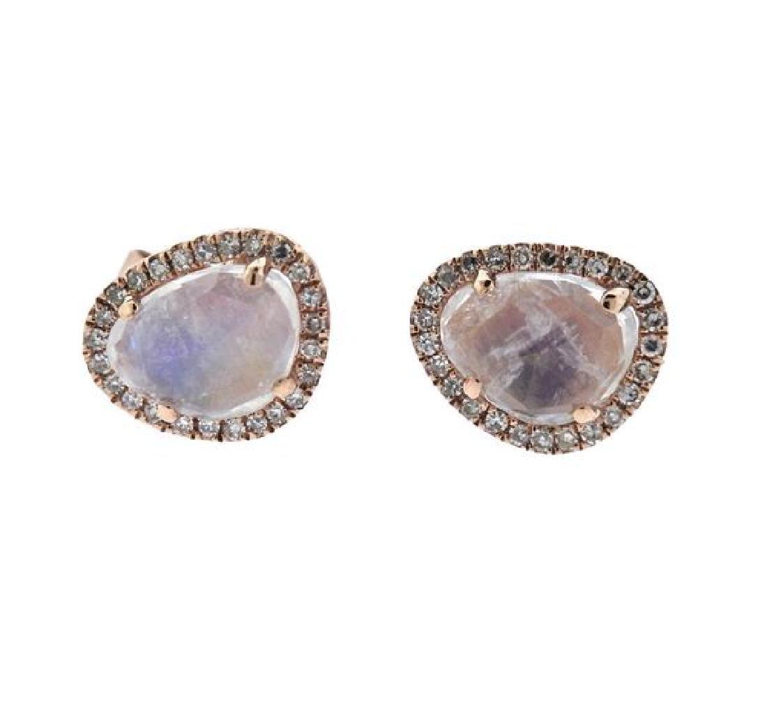 14K Gold Diamond Labradorite Earrings