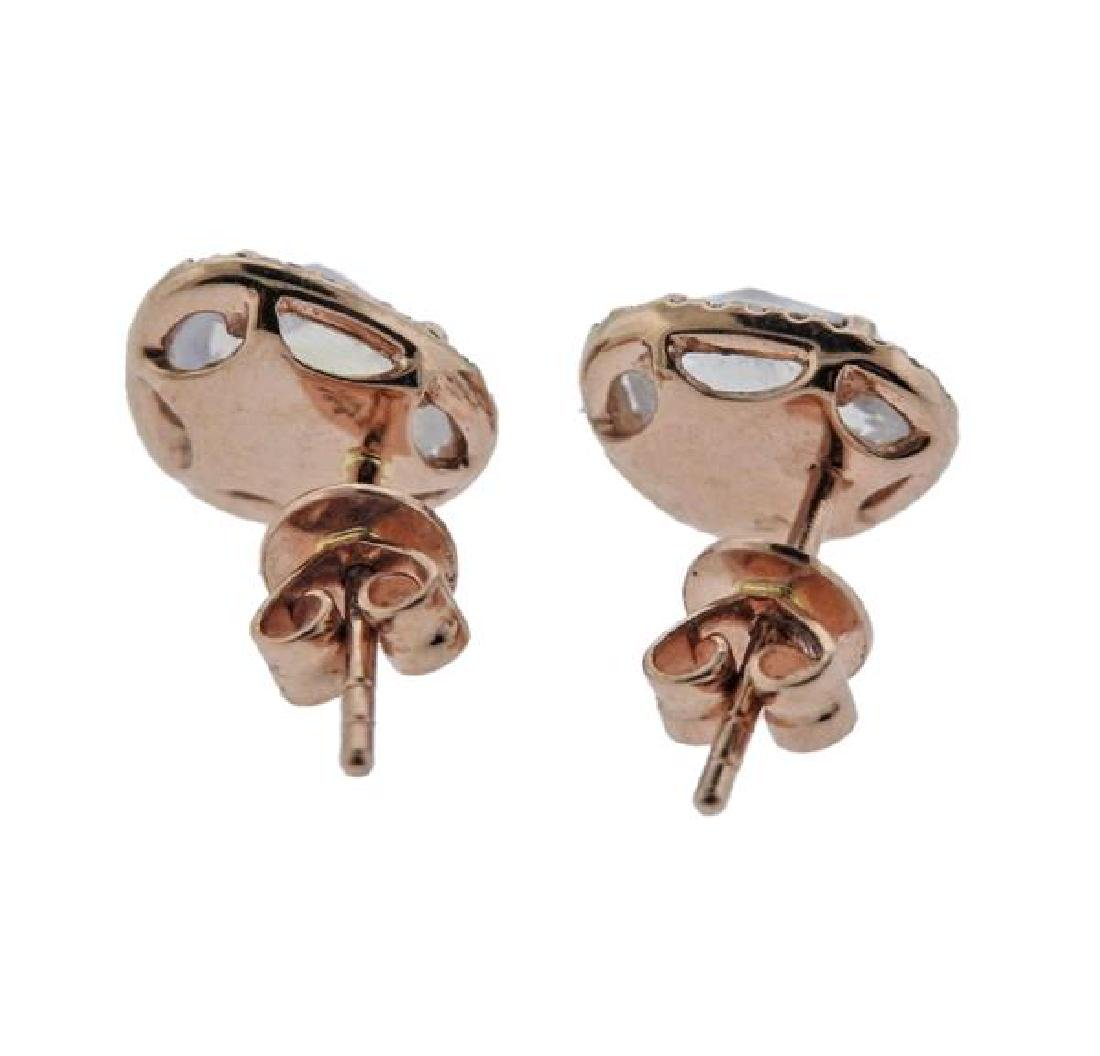 14K Gold Diamond Labradorite Earrings - 2