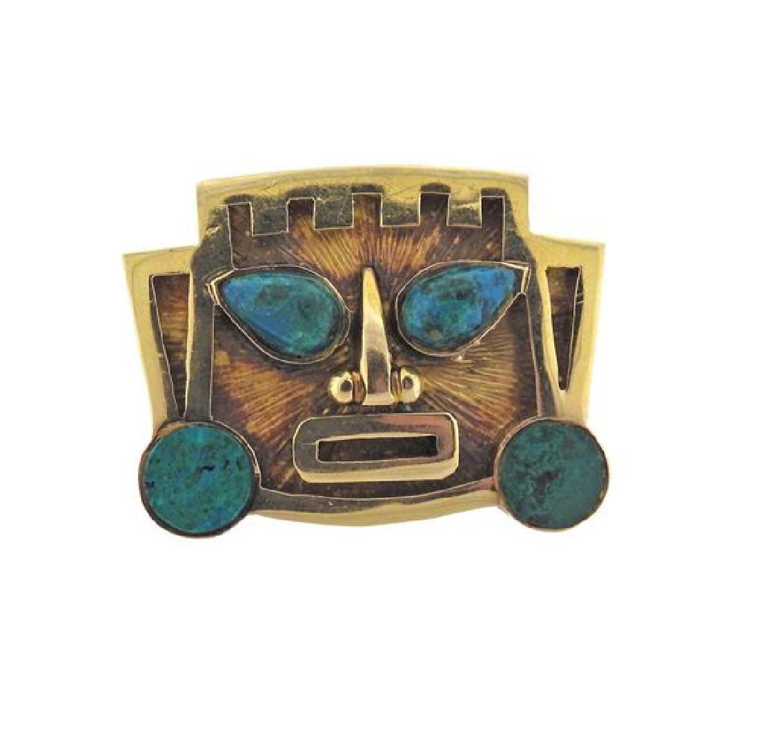 18K Gold Hardstone  Mask Pendant Brooch