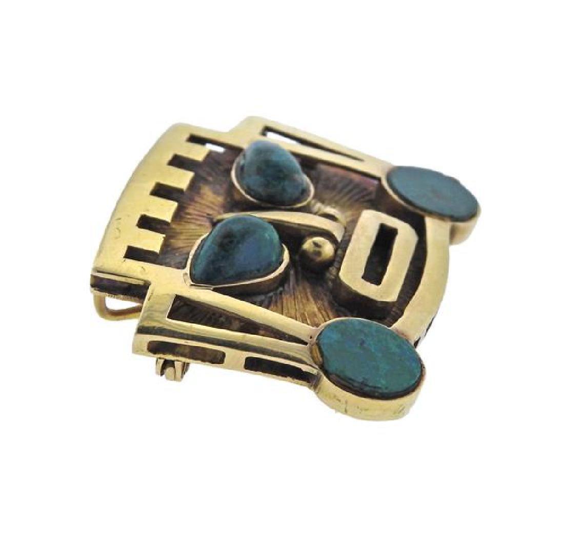 18K Gold Hardstone  Mask Pendant Brooch - 2