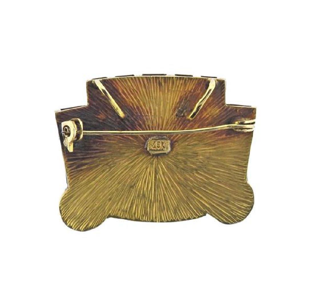 18K Gold Hardstone  Mask Pendant Brooch - 3