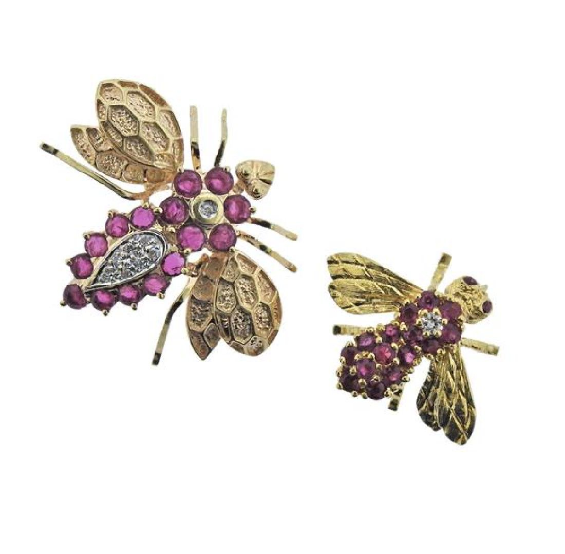 18K 14K Gold Diamond Red Stone Insect Brooch Lot of 2