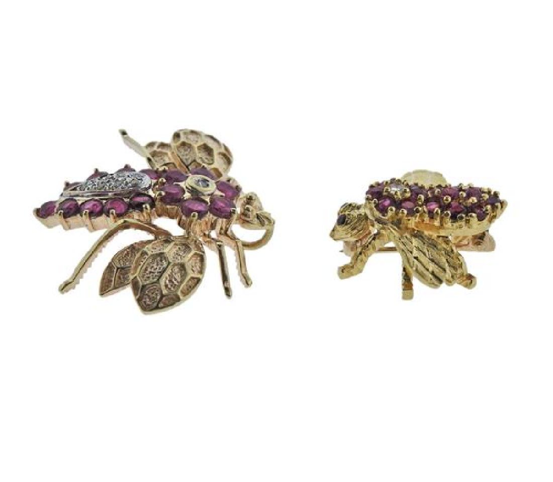 18K 14K Gold Diamond Red Stone Insect Brooch Lot of 2 - 2