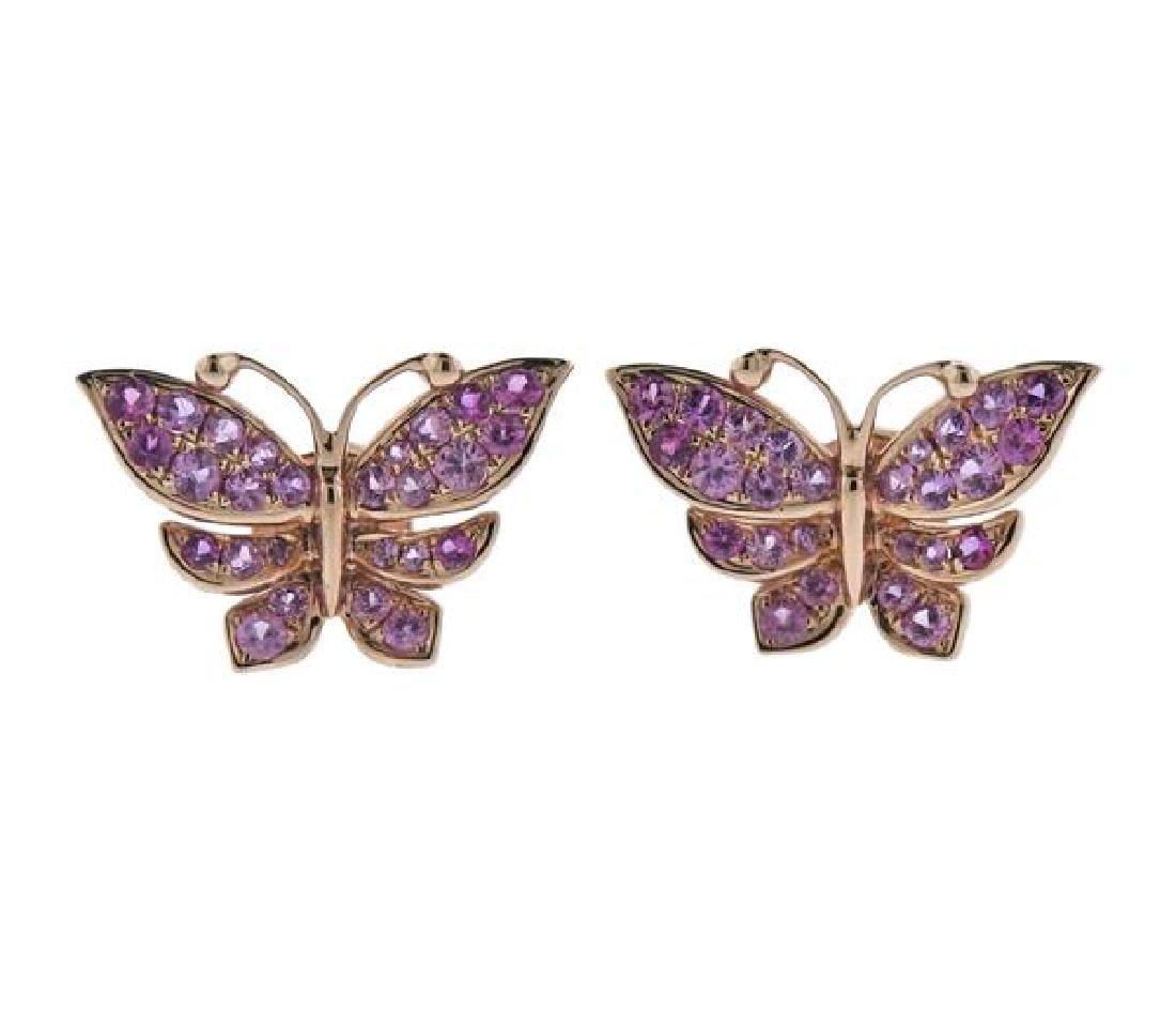 18K Gold Pink Sapphire Butterfly Earrings