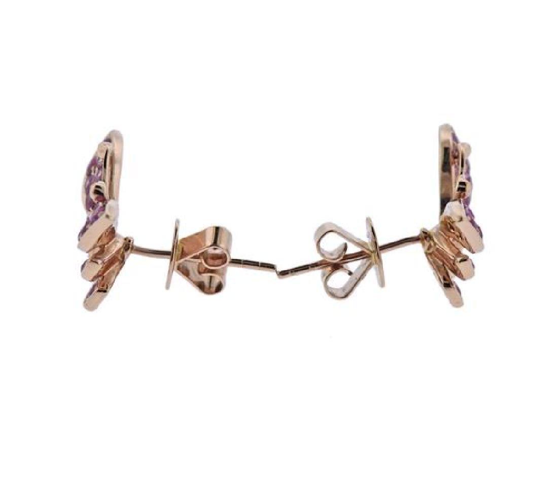 18K Gold Pink Sapphire Butterfly Earrings - 2