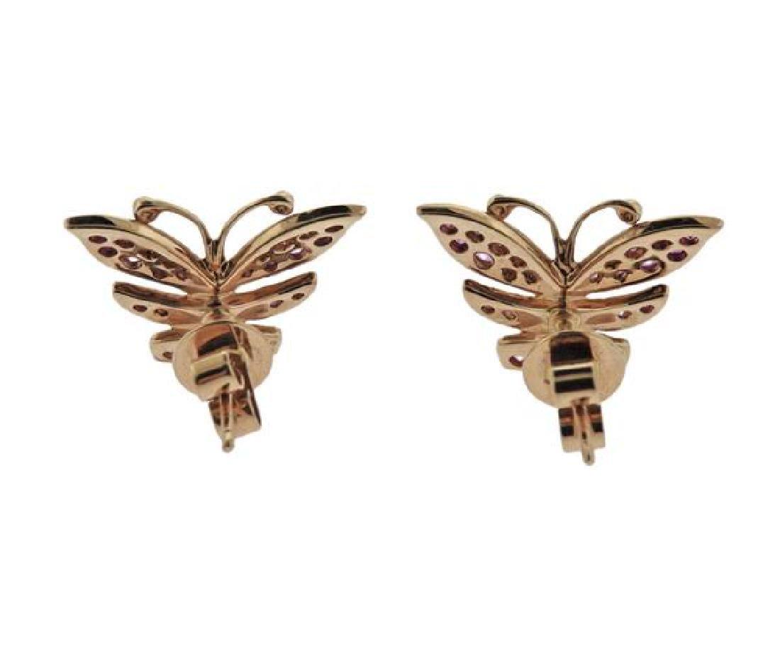 18K Gold Pink Sapphire Butterfly Earrings - 3