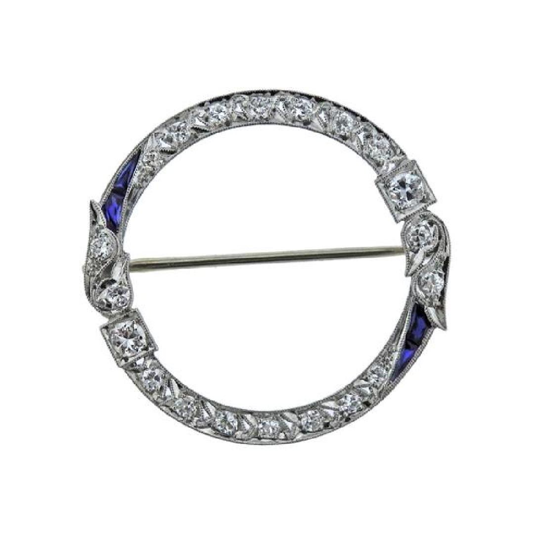 Art Deco Platinum Diamond Blue Stone Brooch