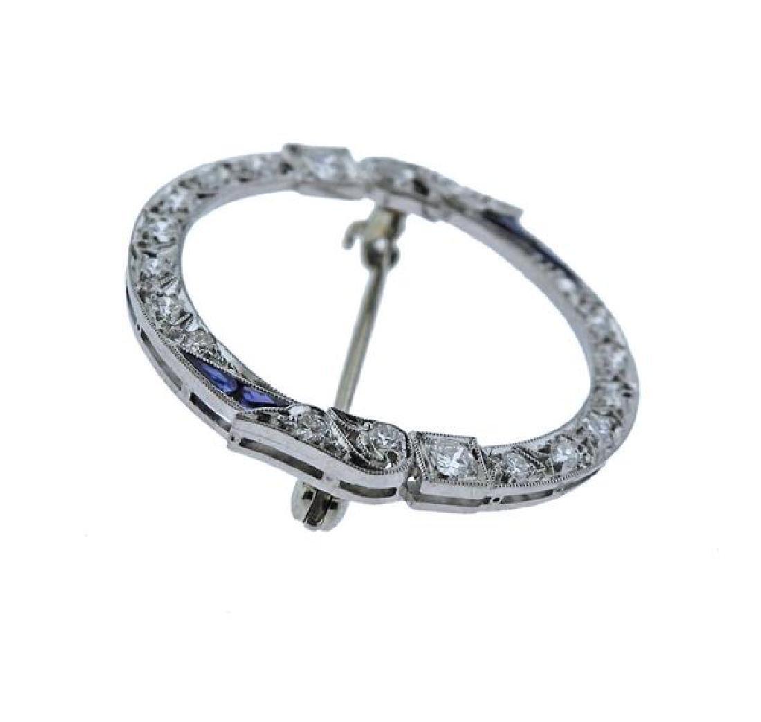 Art Deco Platinum Diamond Blue Stone Brooch - 2