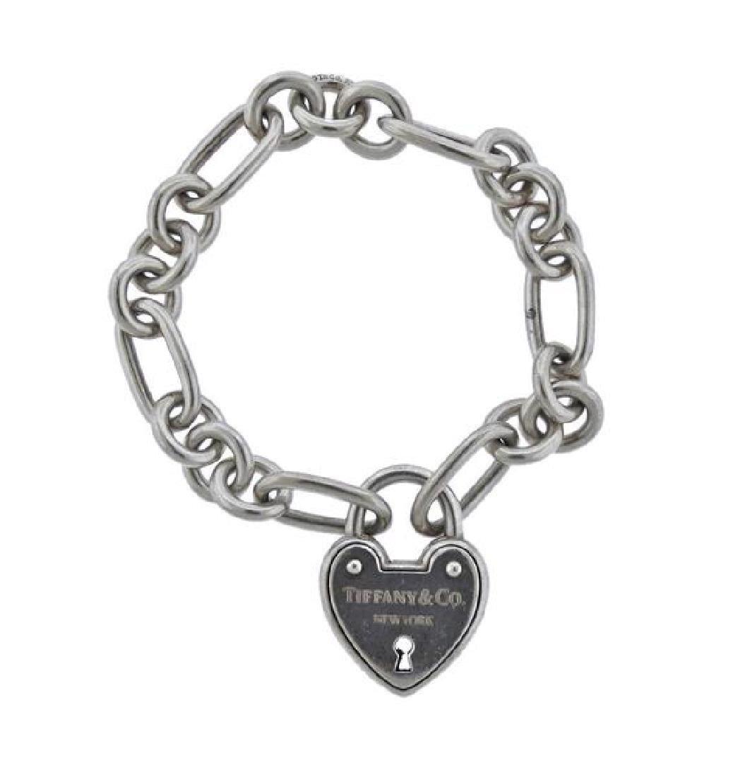 Tiffany & Co Sterling Padlock Heart Charm Bracelet