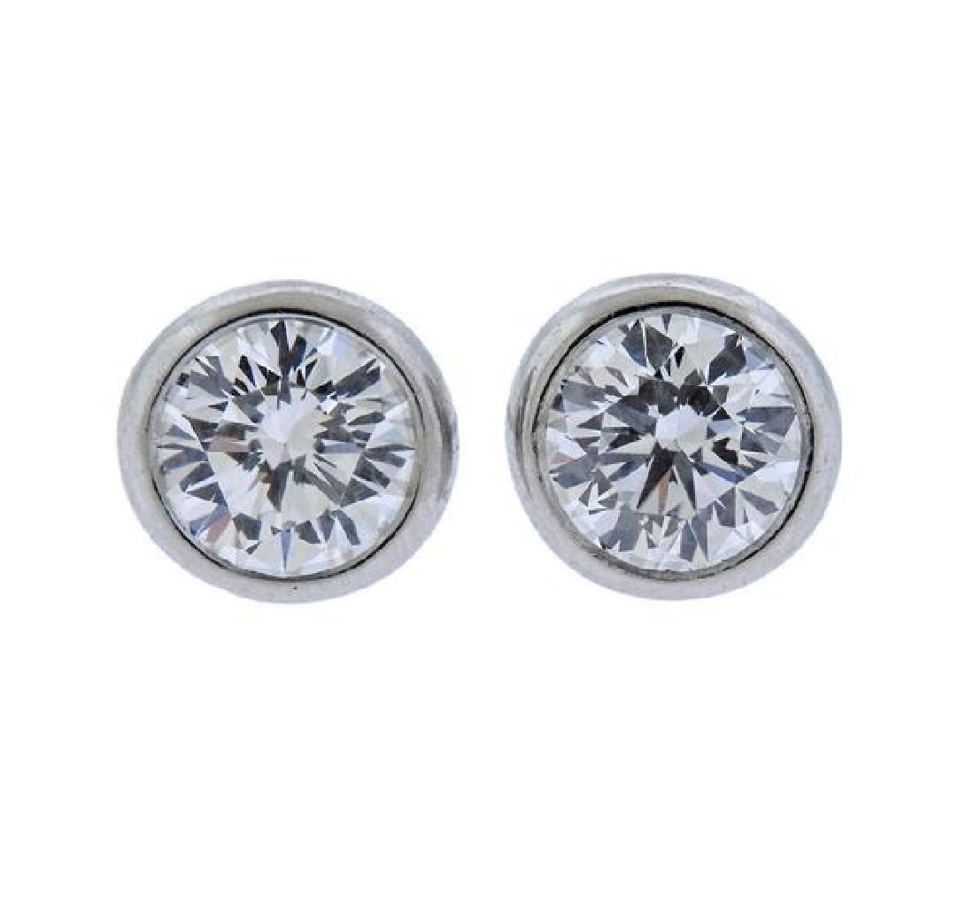 Tiffany & Co Peretti Platinum Diamond Stud Earrings