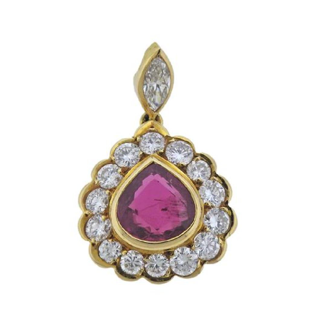 AGL 18K Gold Diamond 2.02ct Ruby Pendant