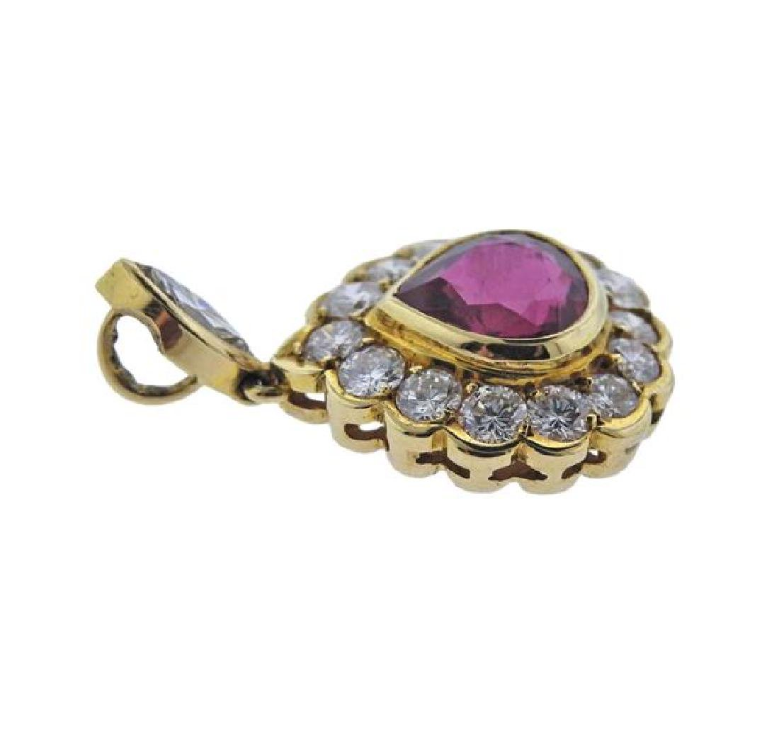 AGL 18K Gold Diamond 2.02ct Ruby Pendant - 2