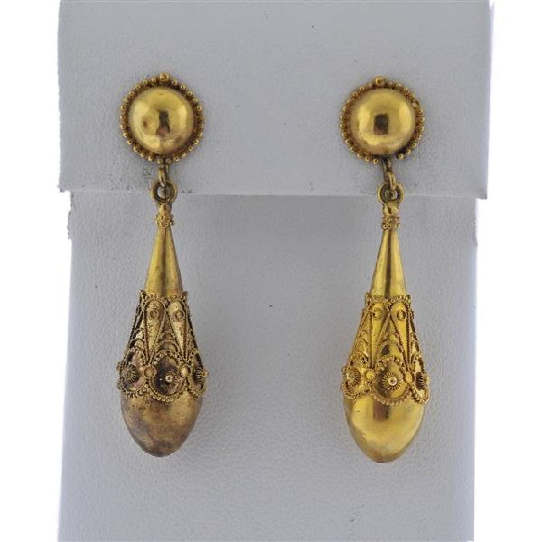 Antique 22K Gold Drop Earrings