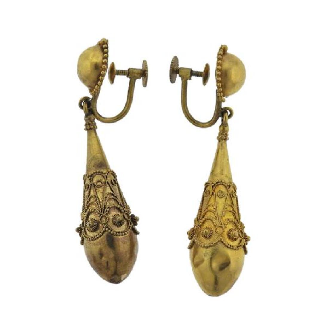 Antique 22K Gold Drop Earrings - 2