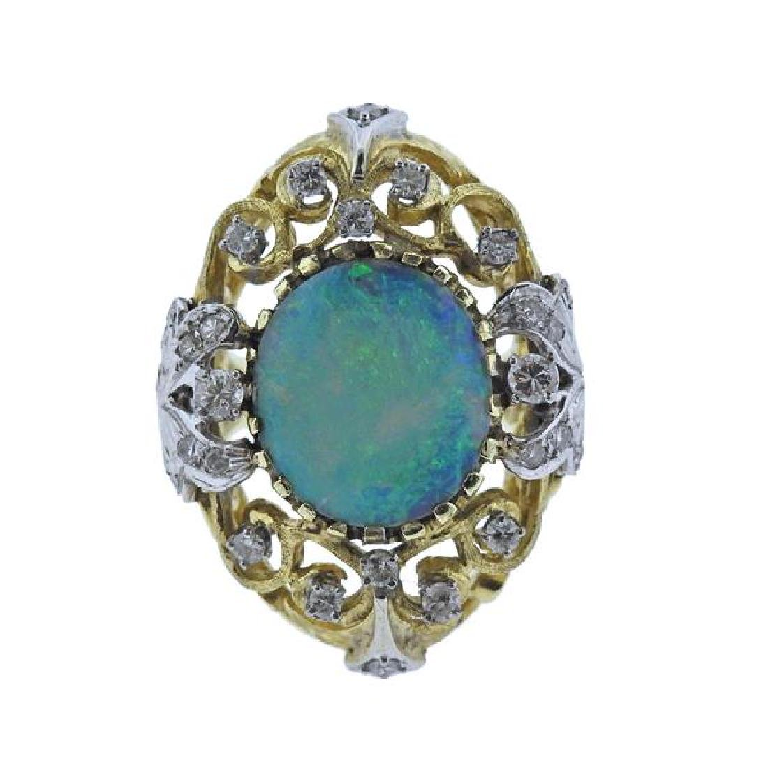 14K Gold Diamond Opal Open Work Cocktail Ring