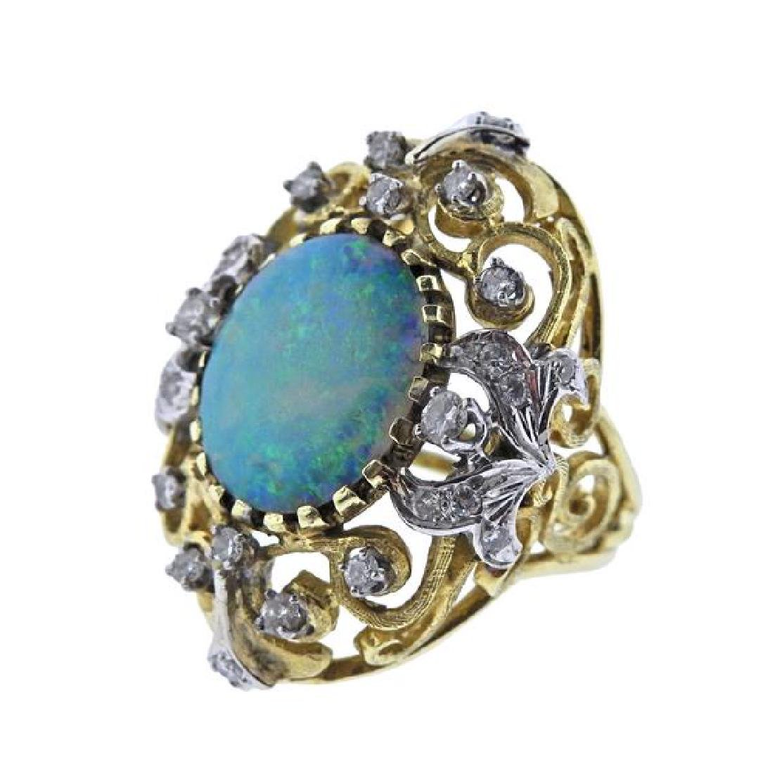 14K Gold Diamond Opal Open Work Cocktail Ring - 2