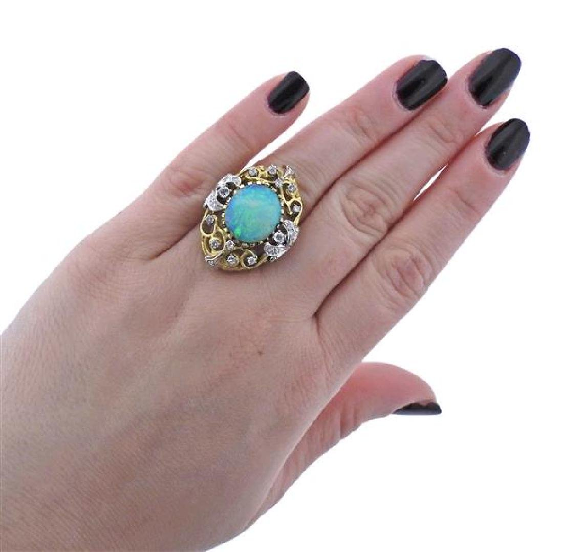 14K Gold Diamond Opal Open Work Cocktail Ring - 4