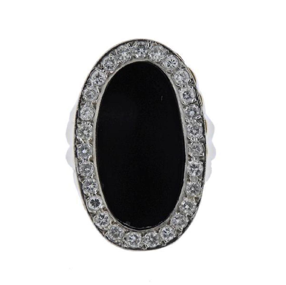 14K Gold Diamond Onyx Ring