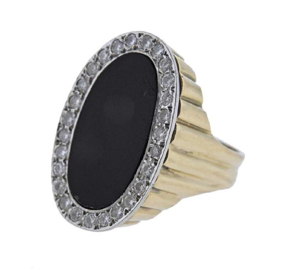 14K Gold Diamond Onyx Ring - 2