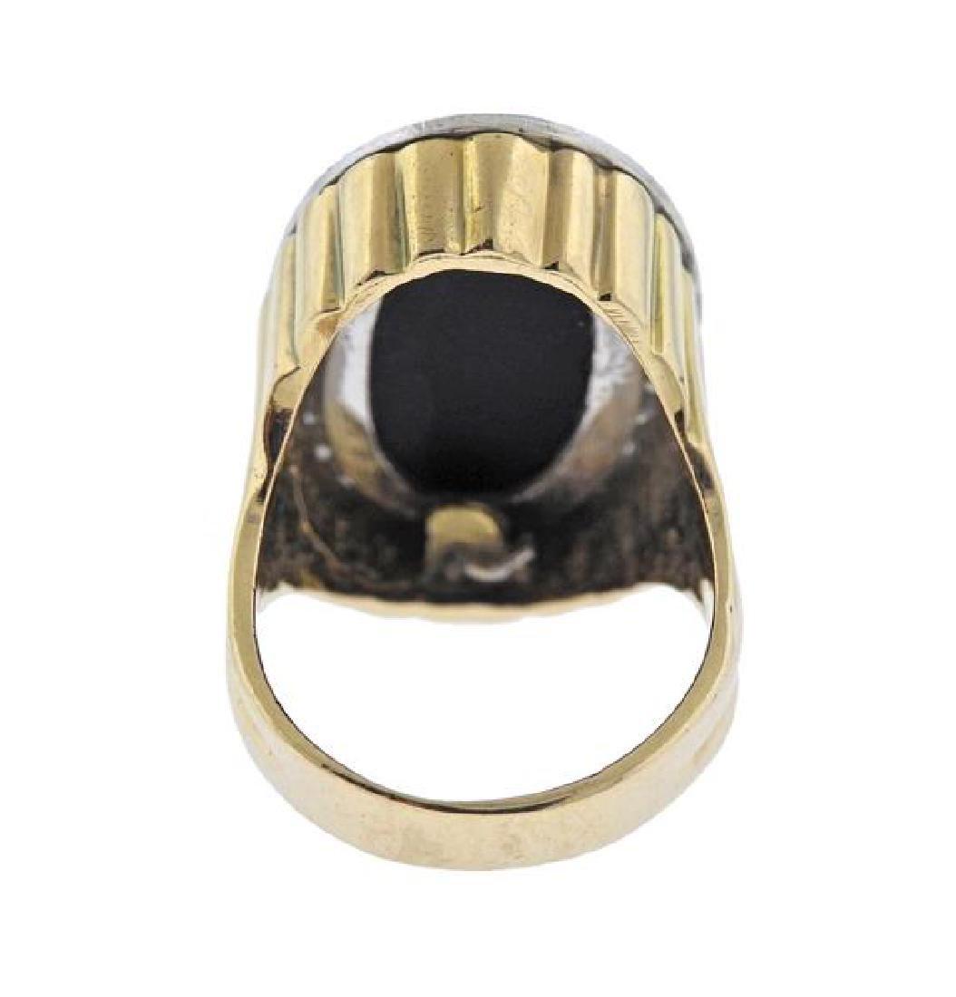 14K Gold Diamond Onyx Ring - 3