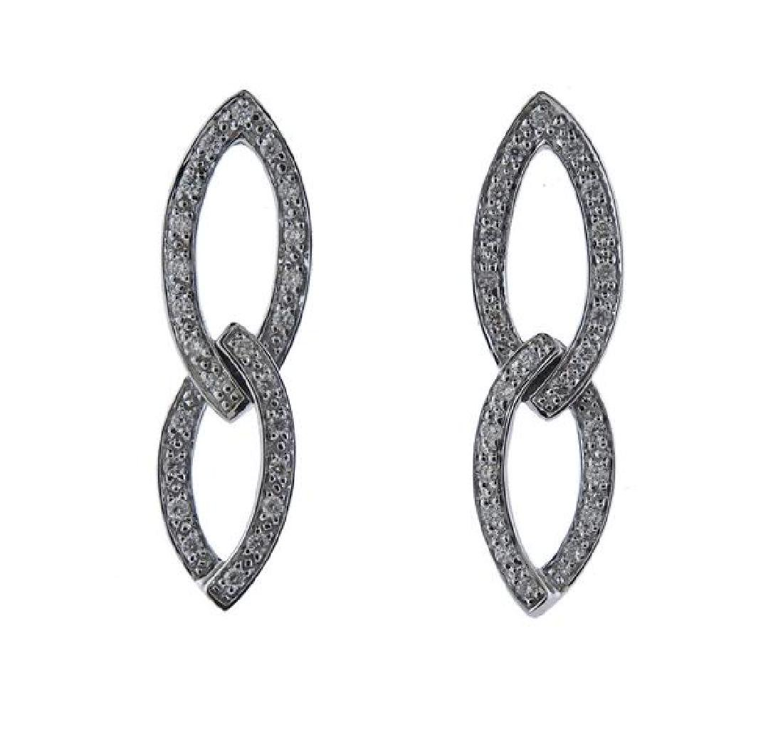 Charriol 18K Gold Diamond Two Links Earrings