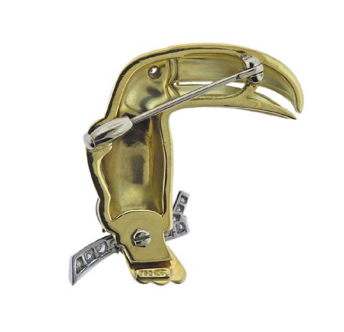 18K Gold Diamond Enamel Toucan Brooch - 3