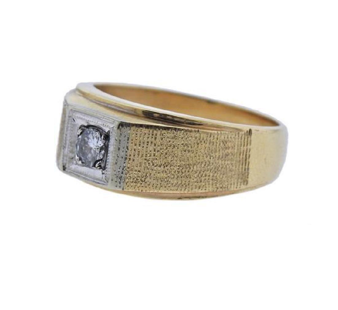 14k Gold Diamond Men's Ring - 2