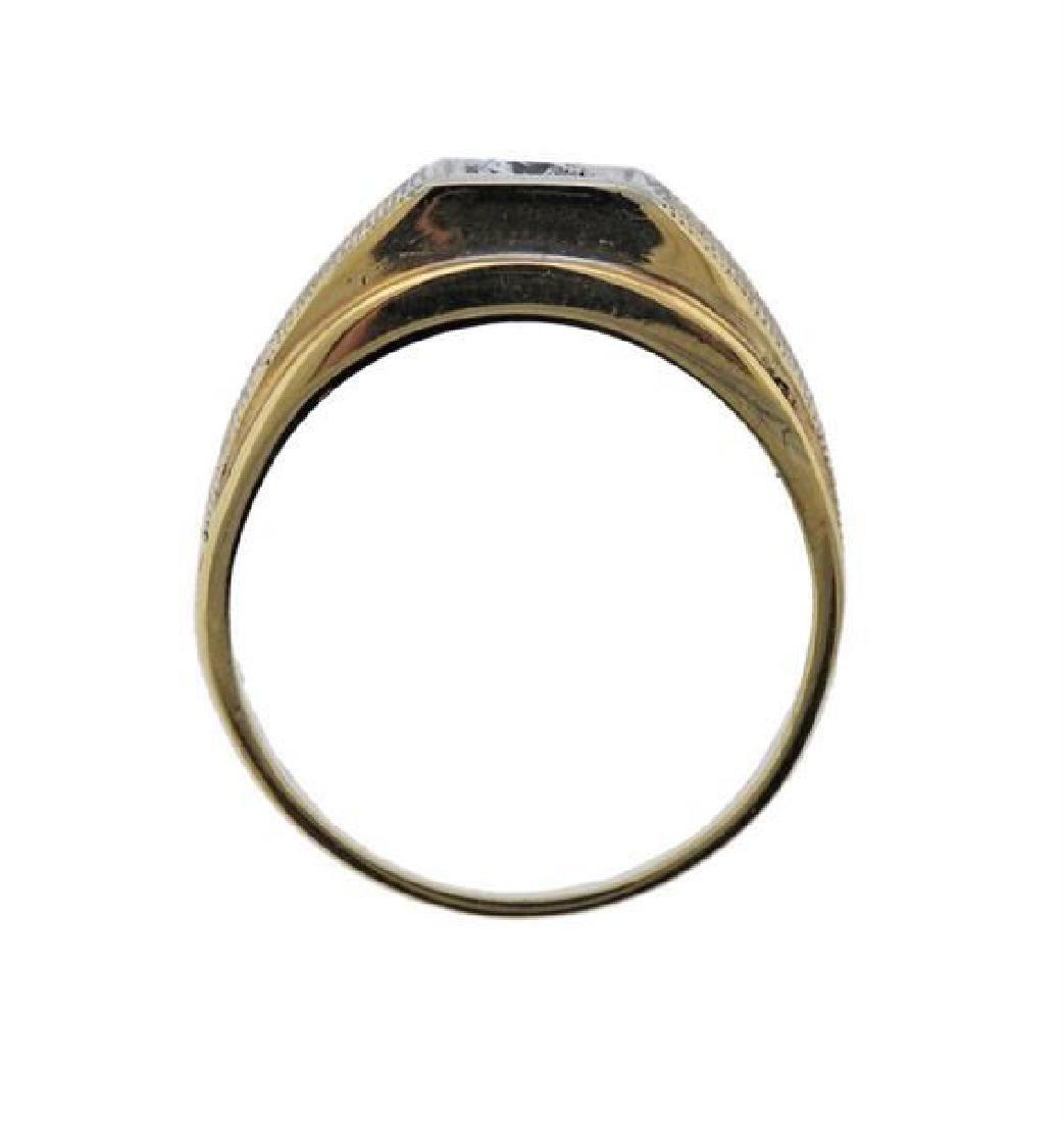 14k Gold Diamond Men's Ring - 3