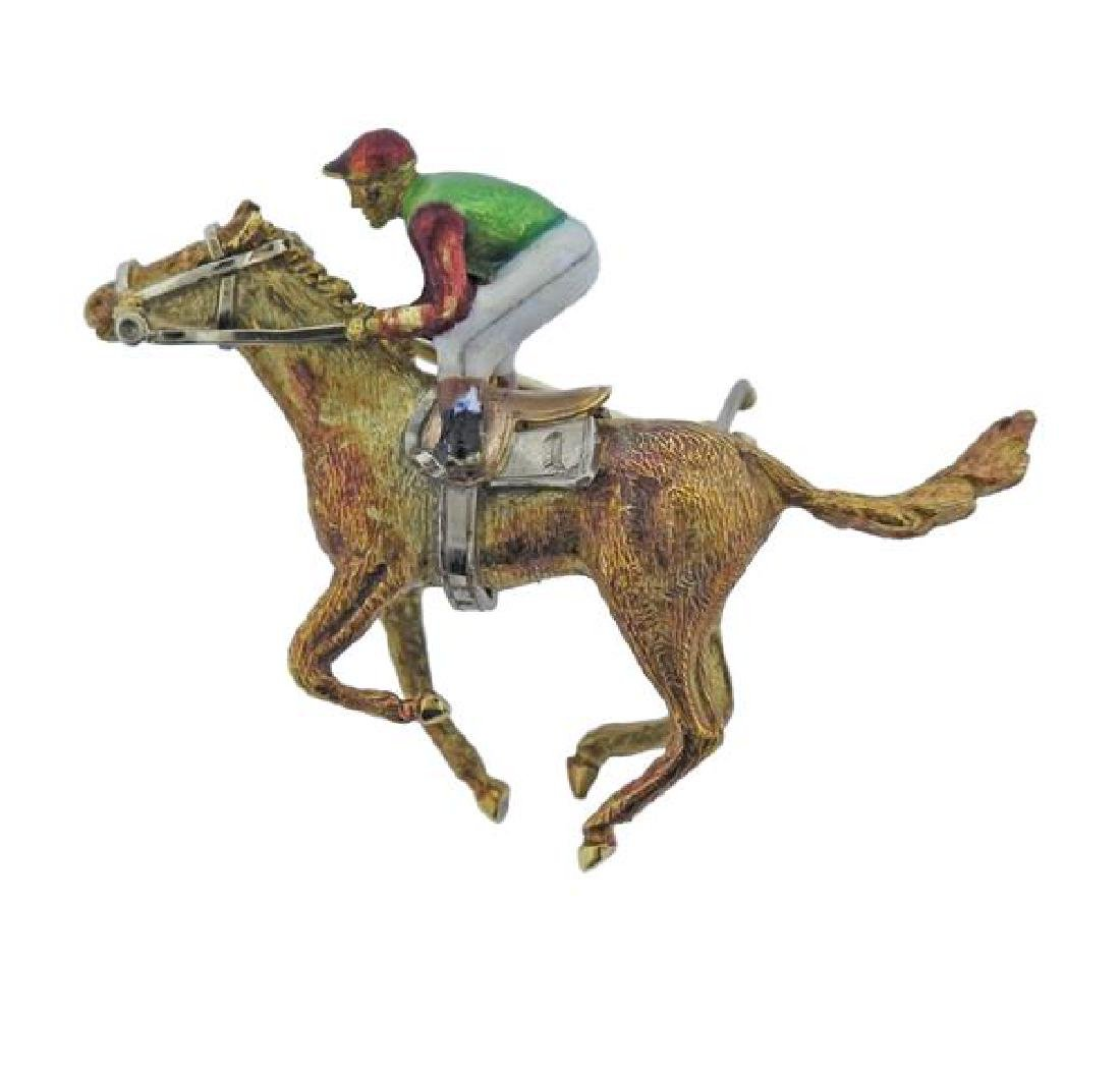 English 18K Gold Enamel Jockey Brooch Pin