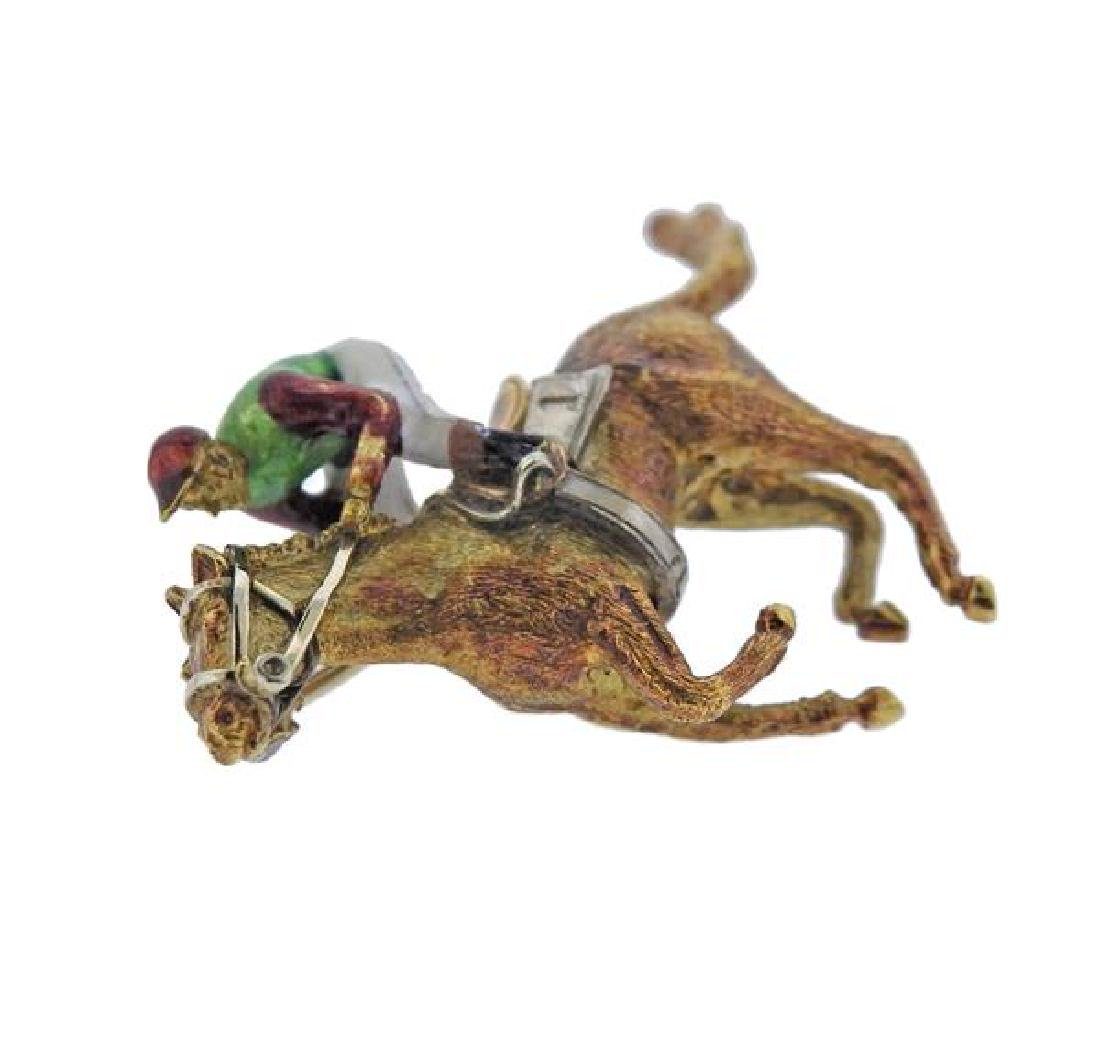 English 18K Gold Enamel Jockey Brooch Pin - 2