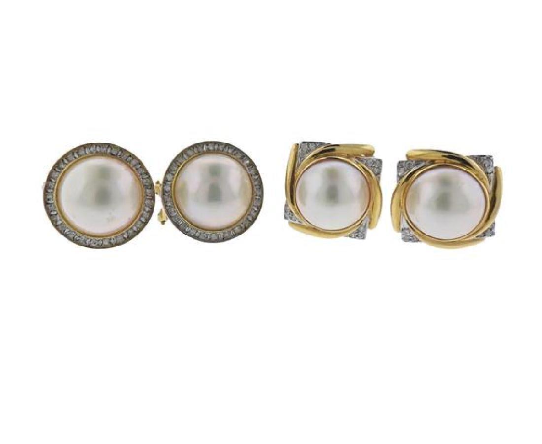 14K Gold Diamond Pearl Earrings Lot of 2