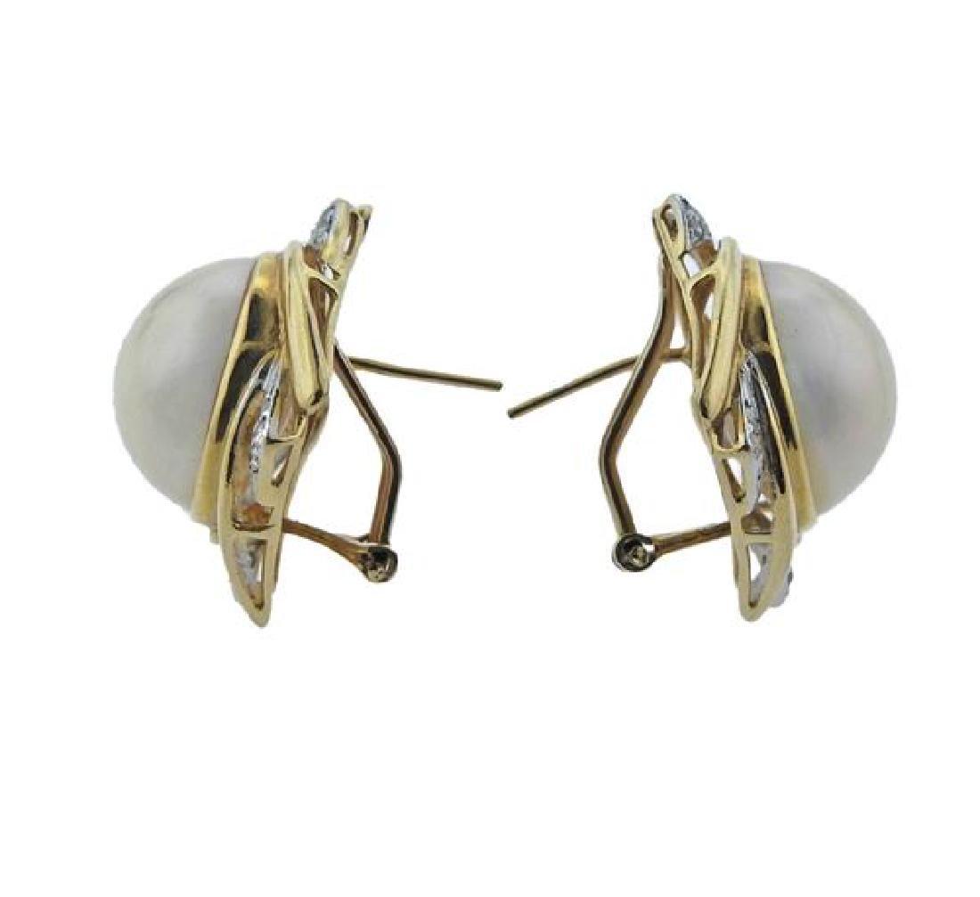14K Gold Diamond Pearl Earrings Lot of 2 - 2