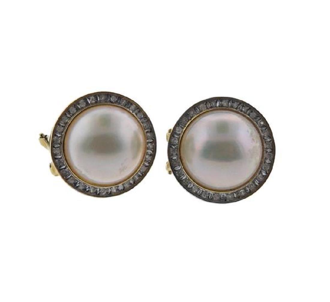 14K Gold Diamond Pearl Earrings Lot of 2 - 4