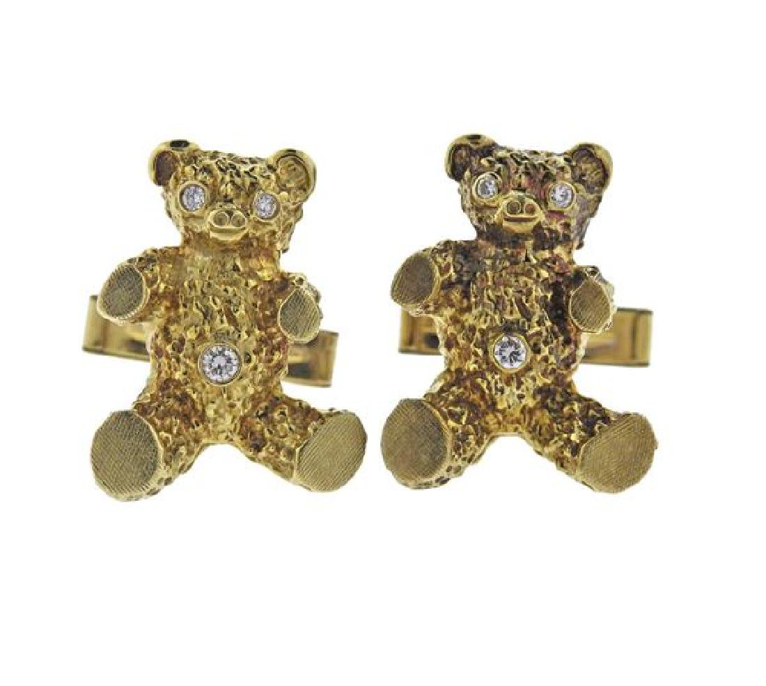 14K Gold Diamond Teddy Bear Cufflinks