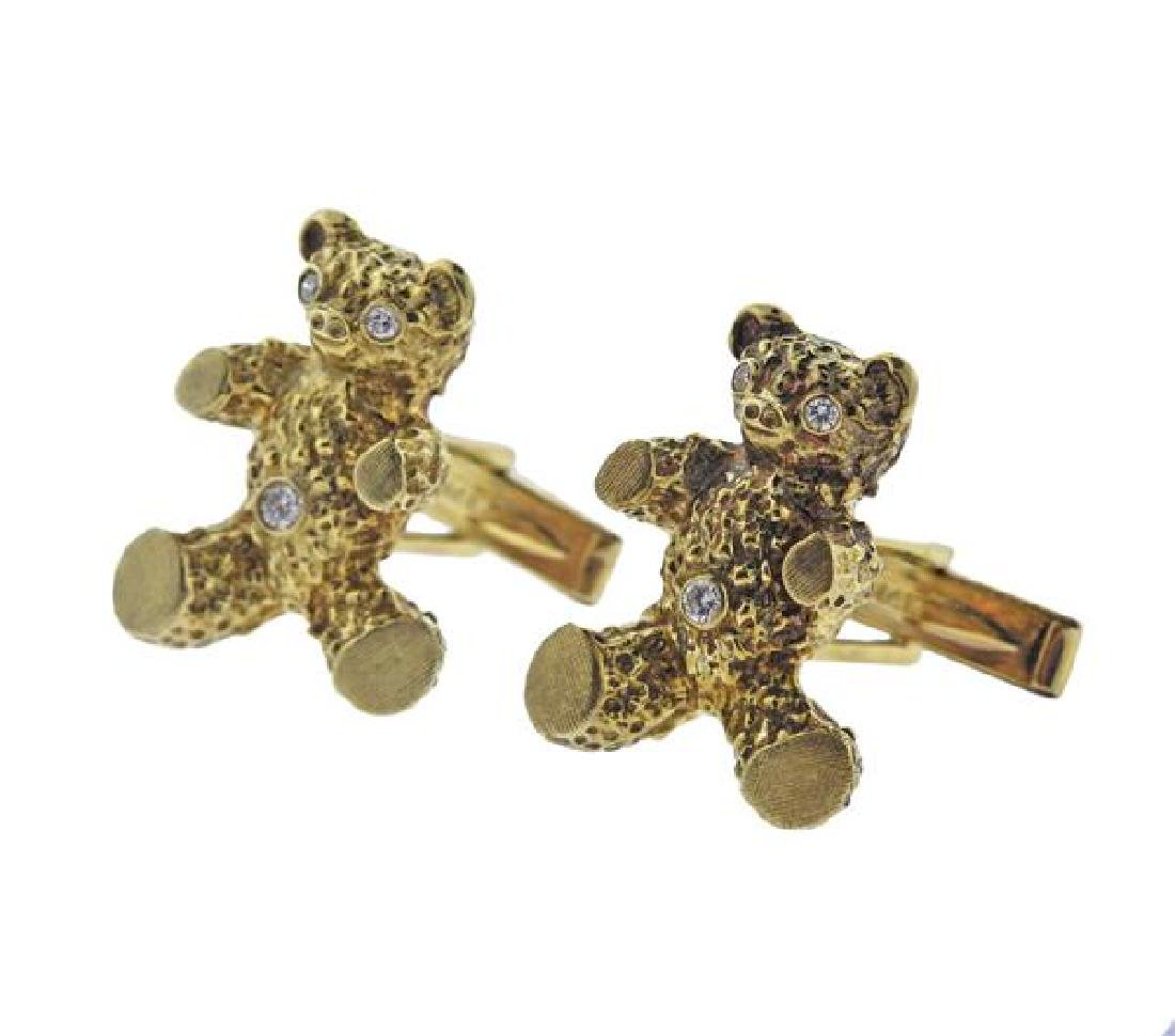 14K Gold Diamond Teddy Bear Cufflinks - 2