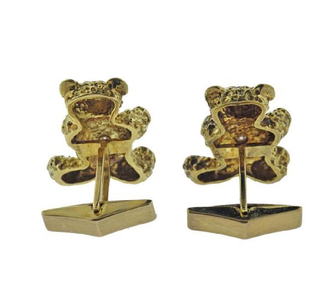 14K Gold Diamond Teddy Bear Cufflinks - 3