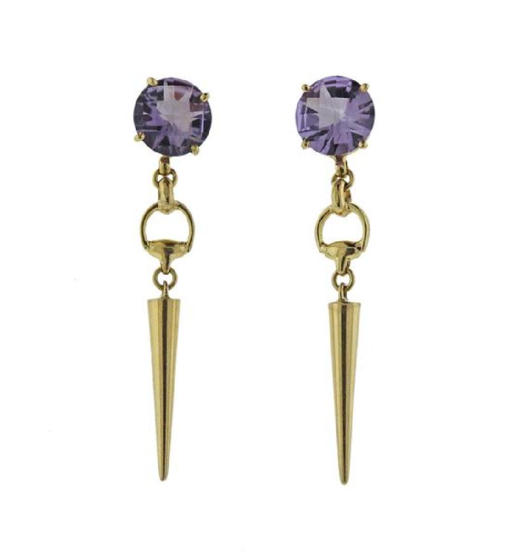 Gucci 18K Gold Purple Stone Dangle Earrings