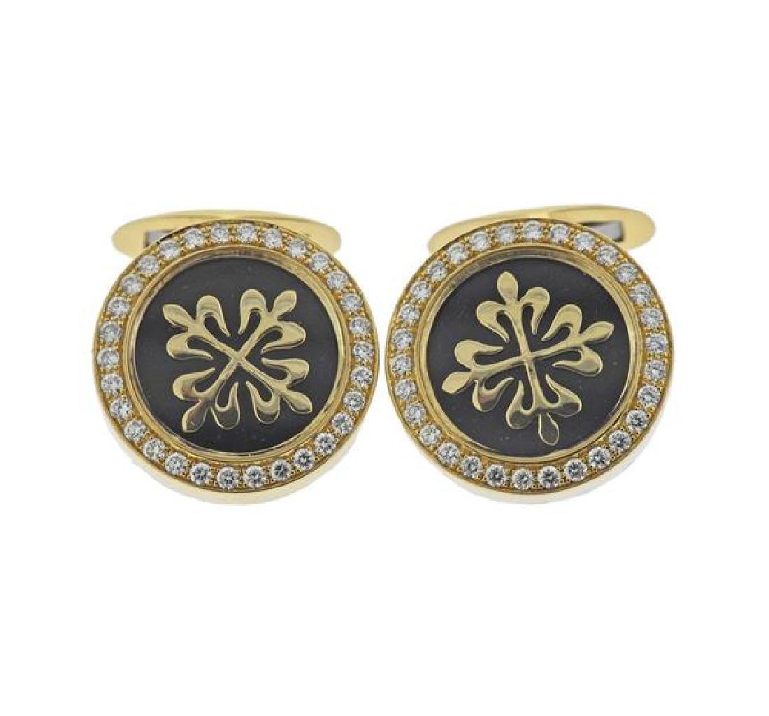 18k Gold Diamond Cufflinks
