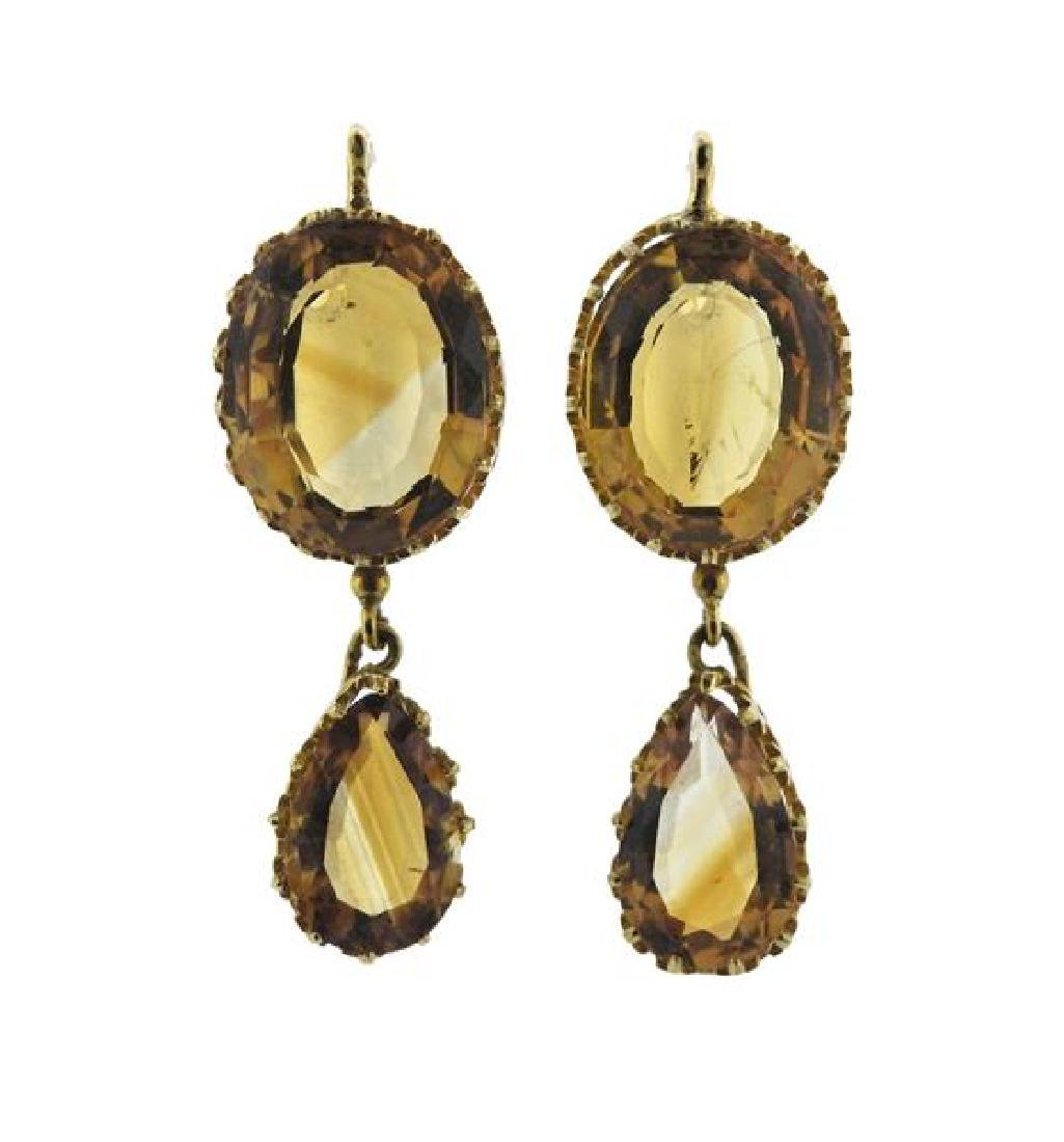 French 18K Gold Citrine Drop Earrings