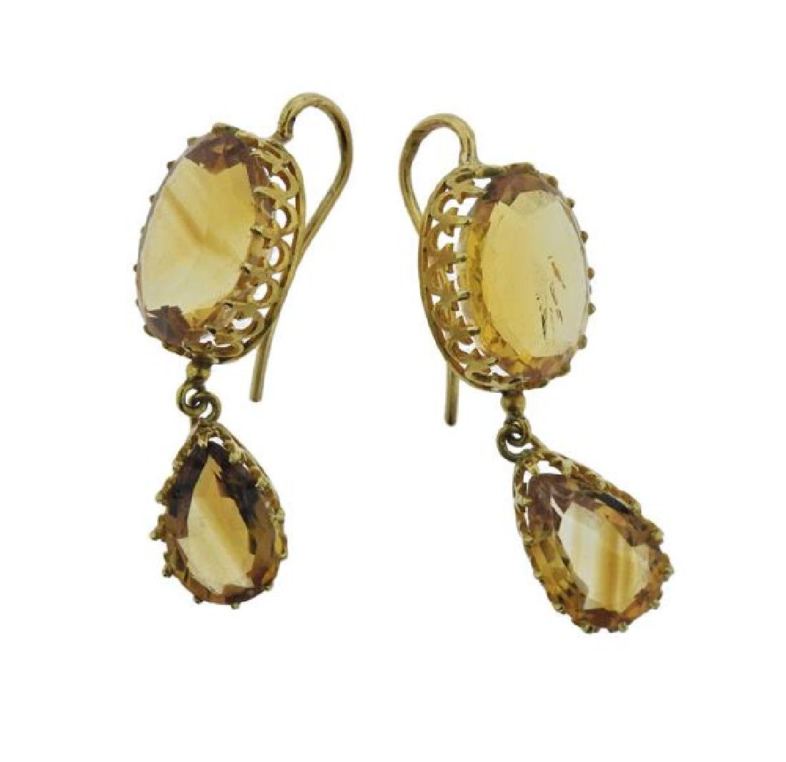 French 18K Gold Citrine Drop Earrings - 2