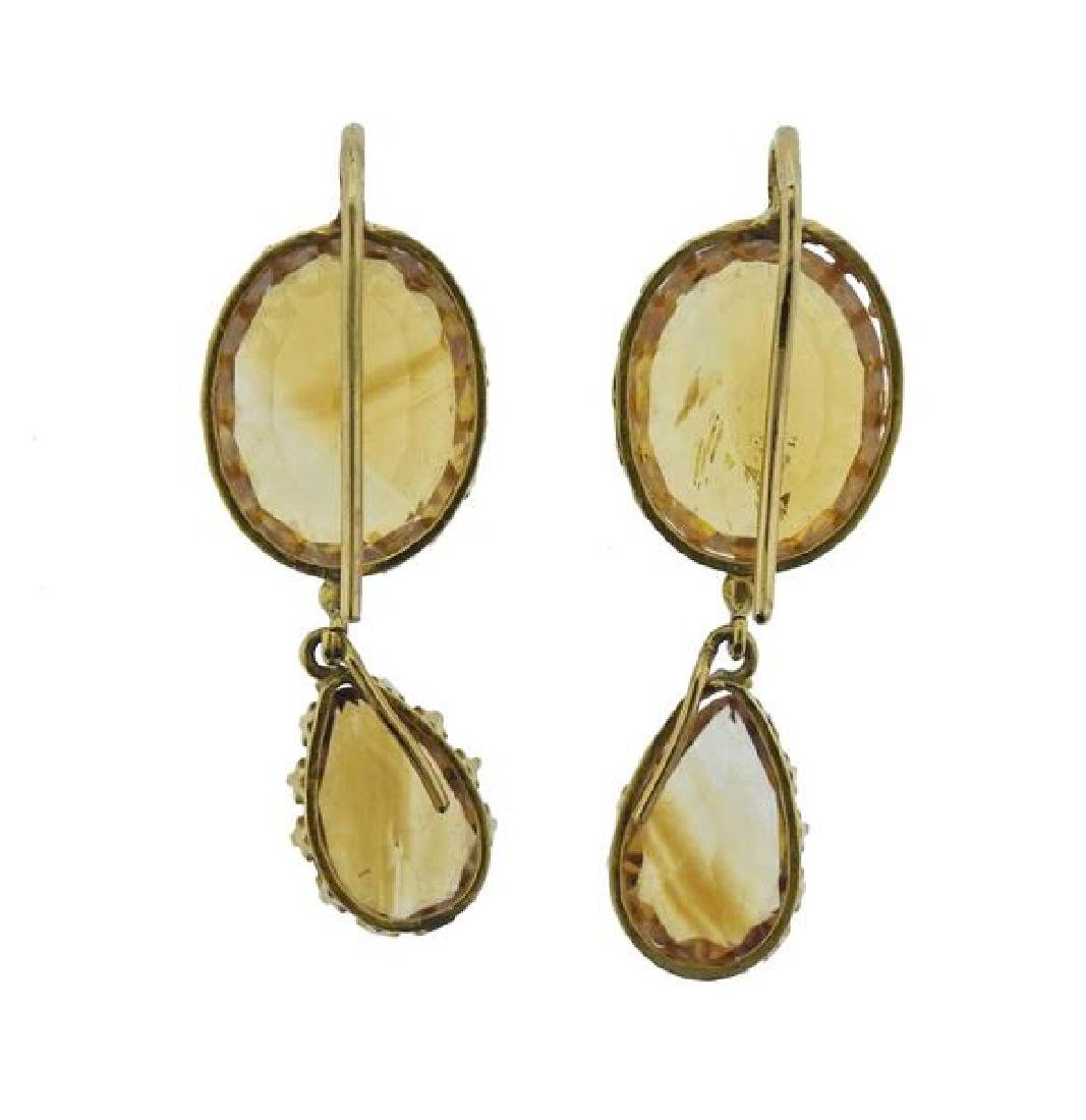 French 18K Gold Citrine Drop Earrings - 3
