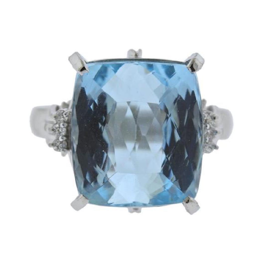Platinum Diamond 15.99Ct Aquamarine Ring