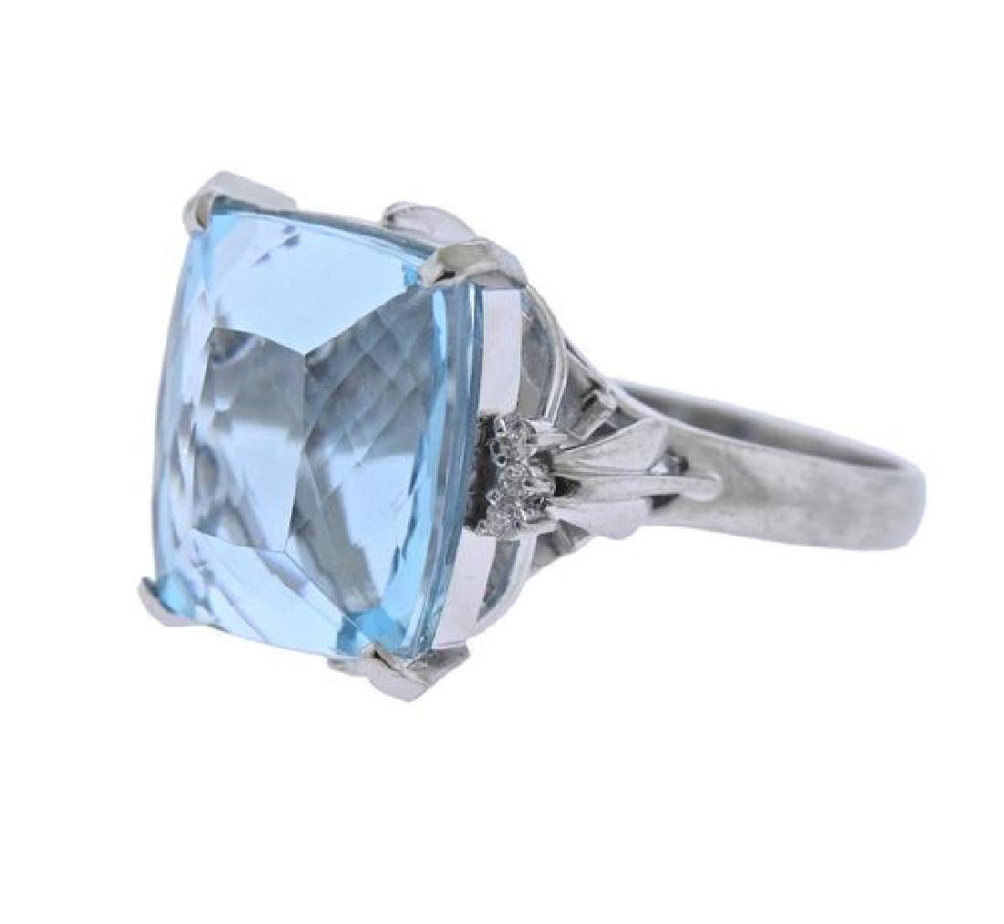 Platinum Diamond 15.99Ct Aquamarine Ring - 2