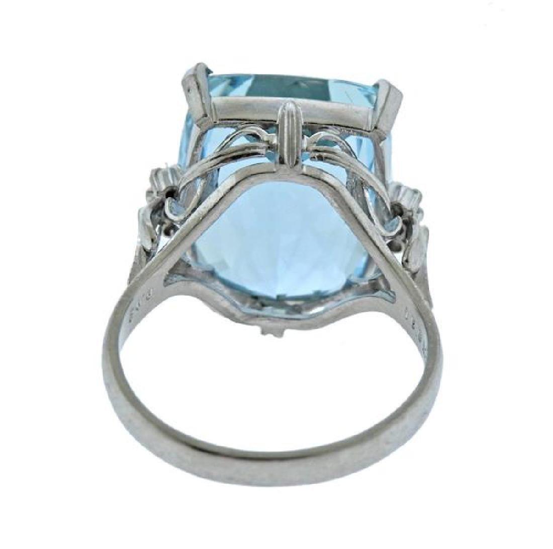 Platinum Diamond 15.99Ct Aquamarine Ring - 3