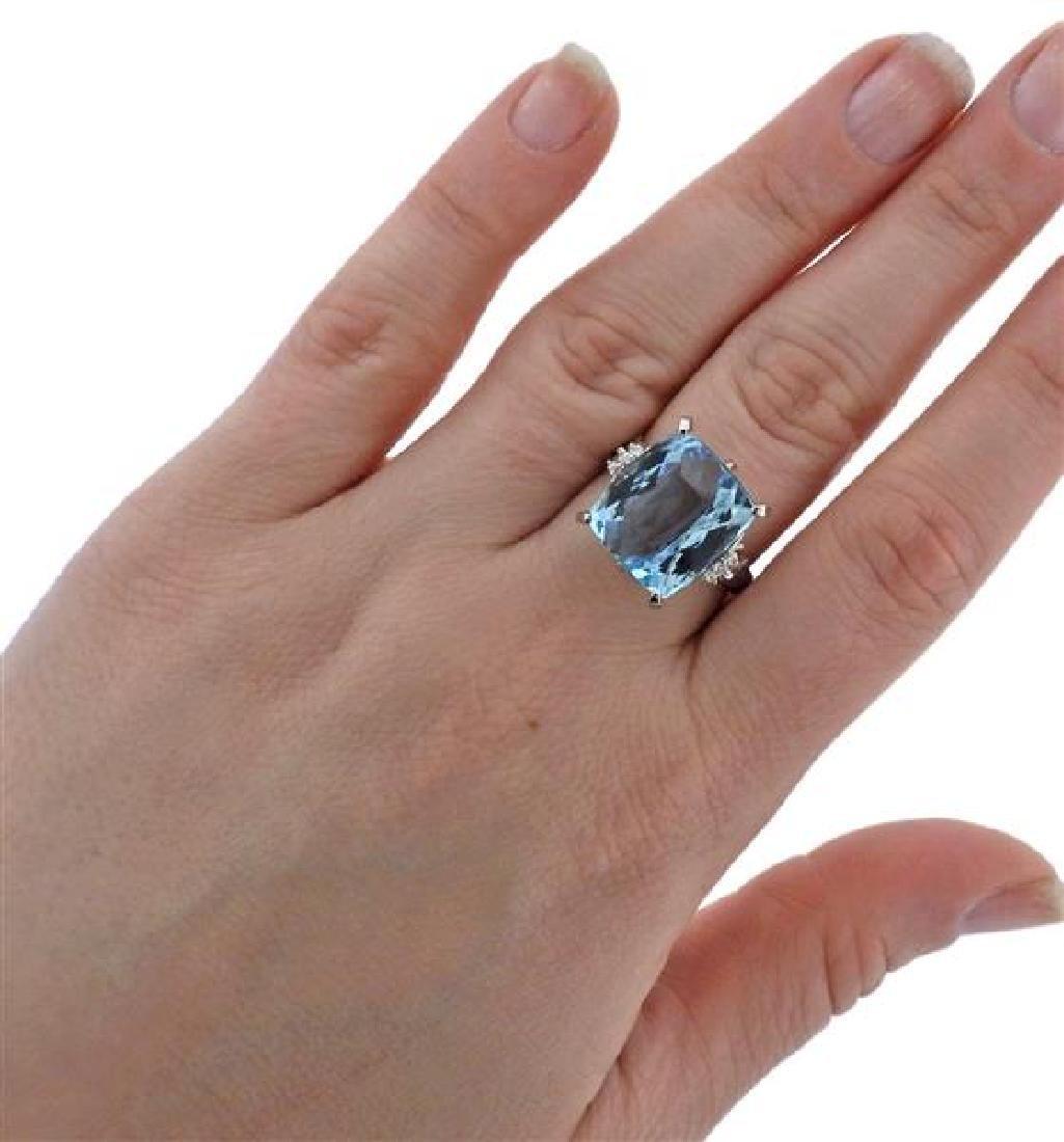Platinum Diamond 15.99Ct Aquamarine Ring - 4